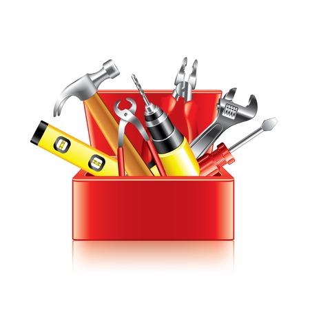 Tools box isolated on white photo-realistic vector illustration 일러스트