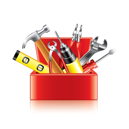 tools: Tools box isolated on white photo-realistic vector illustration Illustration