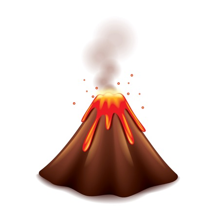 Volcano isolated on white photo-realistic vector illustration Stock Illustratie