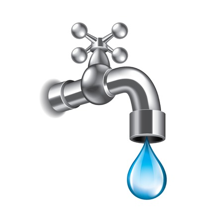 on tap: Water faucet isolated on white photo-realistic vector illustration