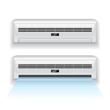 aire acondicionado: Acondicionador de aire aislado en blanco vector fotorrealistas