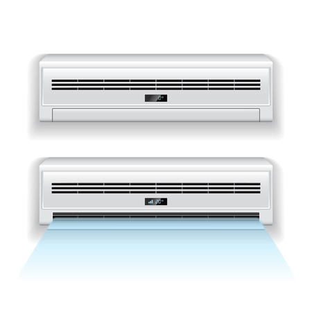 clean air: Air conditioner isolated on white photo-realistic vector