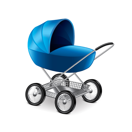 stroller: Baby stroller isolated on white photo-realistic vector illustration