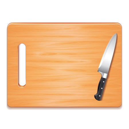 Cutting board and knife isolated on white photo-realistic vector illustration