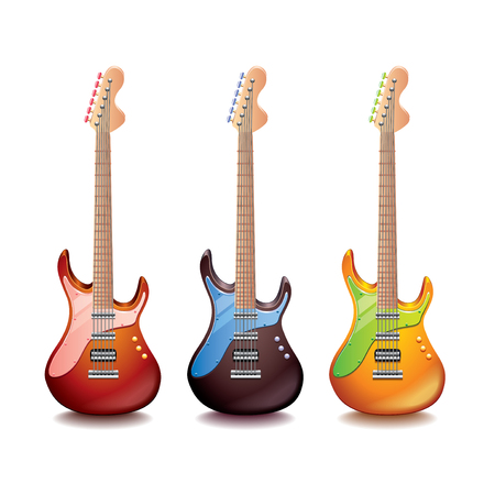 bass guitar: Electric guitar isolated on white photo-realistic vector illustration Illustration