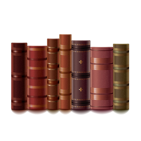 libros antiguos: Libros viejos aislados en blanco fotorrealista ilustración vectorial Vectores