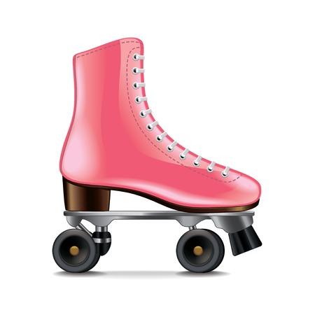 白の写実的なベクトル イラストを分離したローラー スケート