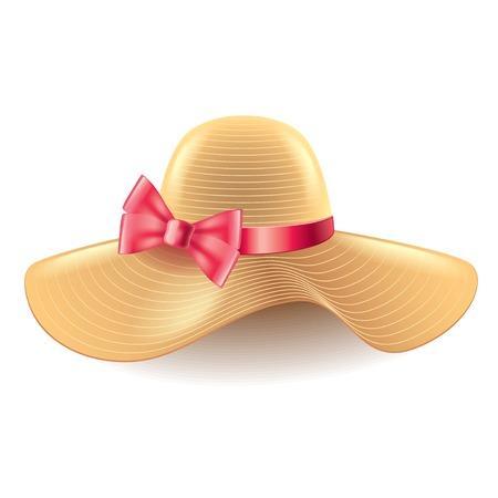 chapeau de paille: Femme chapeau avec un arc isolé sur photo-réaliste blanc illustration vectorielle Illustration