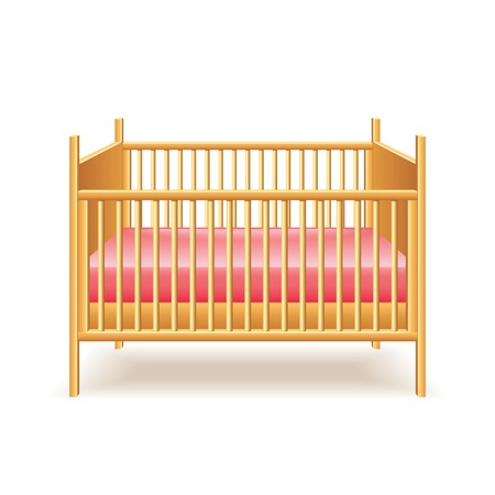 newborn baby mother: Baby bed isolated on white photo-realistic vector illustration