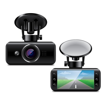 car security: Car DVR isolated on white photo-realistic vector illustration