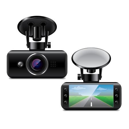 Macchina fotografica: Car DVR isolato su bianco foto-realistica illustrazione vettoriale Vettoriali
