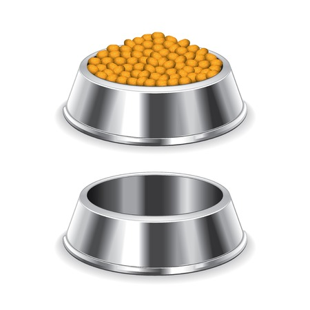 dog eating: Metal dog bowl isolated on white photo-realistic vector illustration