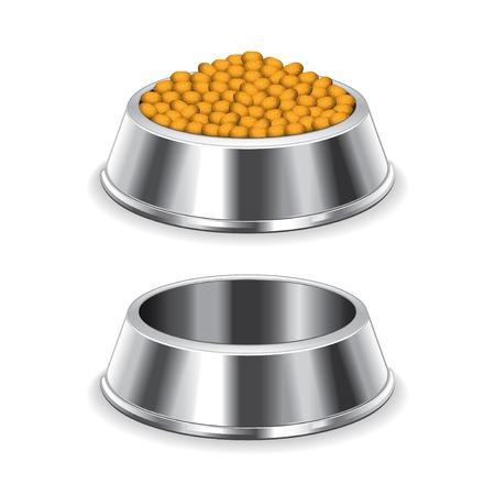 perro comiendo: Recipiente de metal perro aislado en blanco fotorrealista ilustración vectorial