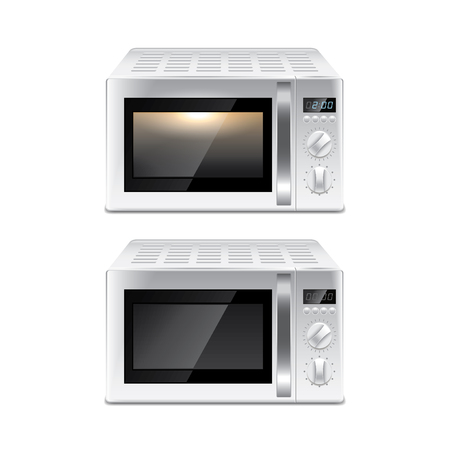 Microwave oven isolated on white photo-realistic vector