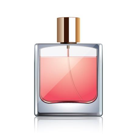 Perfume bottle isolated on white photo-realistic vector illustration Vettoriali