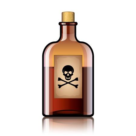 veneno frasco: Botella de veneno aislados en blanco fotorrealista ilustraci�n vectorial