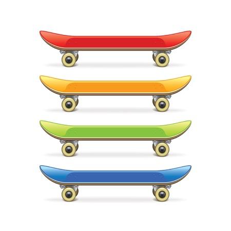 白の写実的なベクトル図に分離されたスケート ボード セット