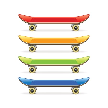 Skateboard set isolated on white photo-realistic vector illustration
