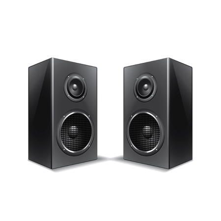 loud speaker: Speakers isolated on white photo-realistic vector illustration