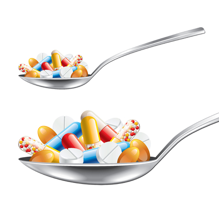 investigated: Spoon with medicines isolated on white photo-realistic vector illustration