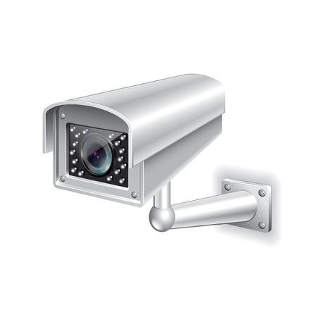 Caméra de surveillance isolé sur photo-réaliste blanc illustration vectorielle Banque d'images - 36933957