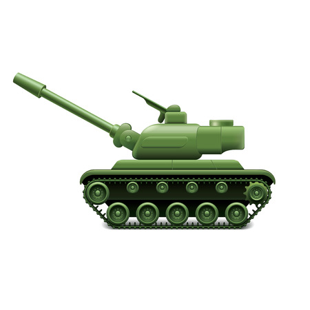 militarily: Military tank isolated on white photo-realistic vector illustration