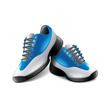 blue shoes: Sport shoes isolated on white photo-realistic vector illustration Illustration