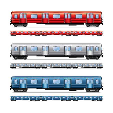 Subway train set isolated on white photo-realistic vector illustration