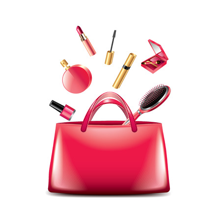 photorealistic: Women bag with cosmetics isolated on white photo-realistic vector illustration