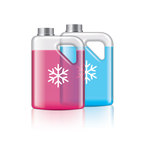 motorist: Antifreeze isolated on white photo-realistic vector illustration