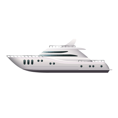 speedboat: Yacht isolated on white photo-realistic vector illustration