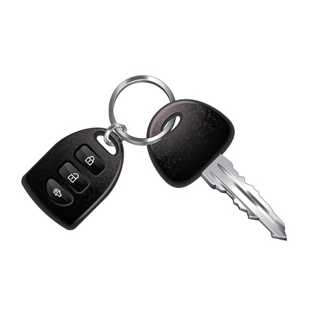 Car keys isolated on white photo-realistic vector illustration Çizim