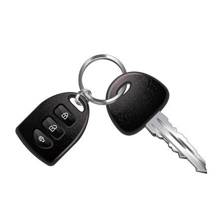 witte achtergrond: Sleutels van de auto die op witte photo-realistic vector illustratie Stock Illustratie