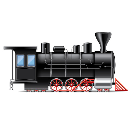 clipart chimney: Locomotive isolated on white photo-realistic vector illustration