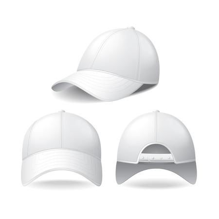 白の写実的なベクトル図に分離された白い野球帽