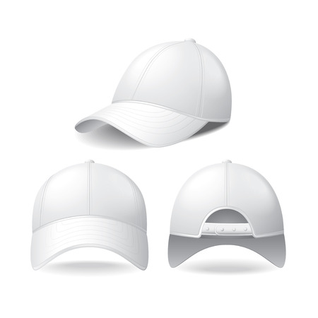 White baseball cap isolated on white photo-realistic vector illustration Illusztráció