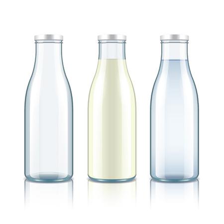 verre de lait: Bouteille en verre avec du lait, de l'eau et vide isol� sur blanc