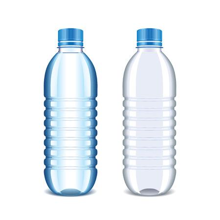 reciclar basura: Botella de pl�stico de agua aisladas en blanco