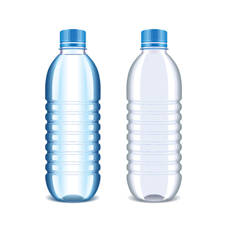 recycling bottles: Plastic bottle for water isolated on white