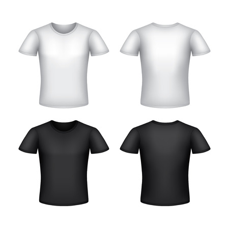 tshirt template: White man t-shirt template isolated on white