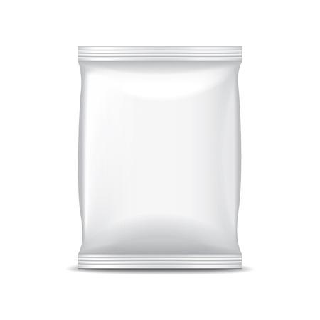 白の写実的なベクトル イラスト上に分離されて食品の白いホイル包装