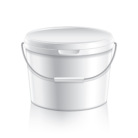 paint container: White plastic bucket container for paint or food isolated on white