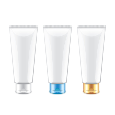 aftershave: White tube packaging for cosmetics isolated on white  Illustration