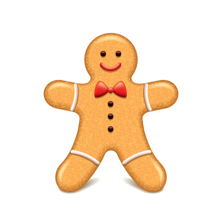 gingerbread cookie: Christmas cookie gingerbread man isolated vector illustration
