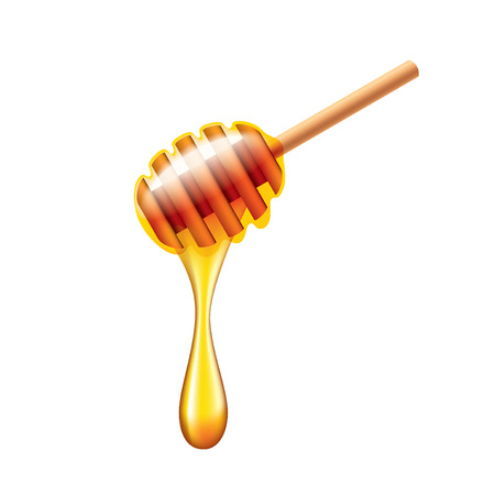 Honey stick with flowing honey isolated on white photo-realistic vector illustration Illustration