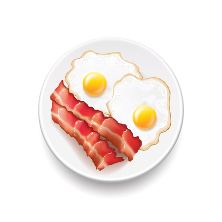 Bacon and eggs isolated on white photo-realistic vector illustration