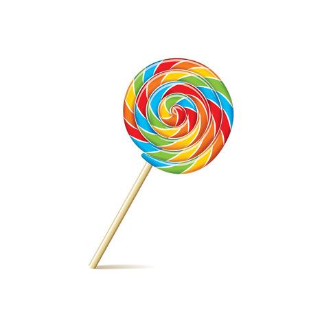 paleta de caramelo: Lollipop colorido aislado en blanco fotorrealista ilustraci�n vectorial