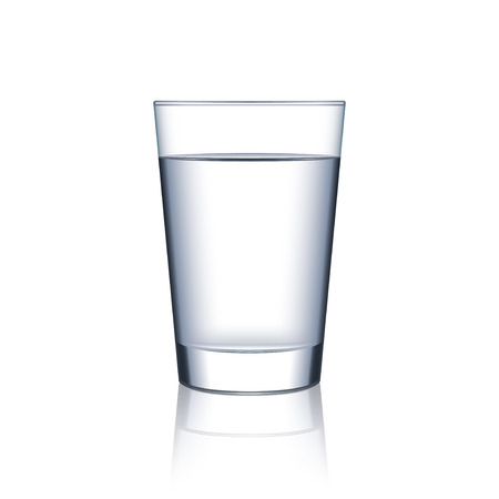 Glass of water isolated on white photo-realistic vector illustration