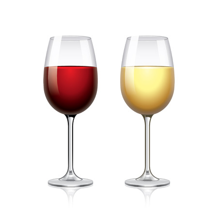 red grape: Glass of red and white wine isolated vector illustration