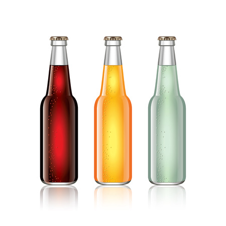 glass beer bottle: Glass soda bottles isolated on white photo-realistic vector illustration
